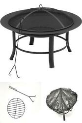 28 Round Outdoor Wood Burning Fire Pit Backyard Patio Black W/ Mesh Spark Guard