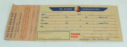 Rare Vintage 1940and039s Eastern Air Lines Inc. In Flight Reservation Ticket Unused