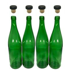 750ml Empty Green Glass Wine Bottles W/ Corks For Homebrewing And Diy - 4/pack