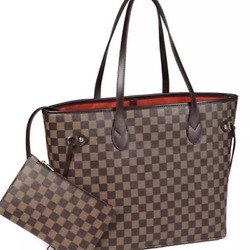 Checkered Tote Bag for Women Leather Shoulder Strap With Inner Pouch $59.99