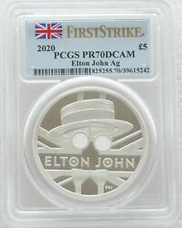 2020 Music Legends Elton John Andpound5 Silver Proof 2oz Coin Pcgs Pr70 First Strike
