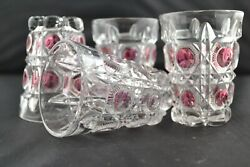 Set Of Four Antique Glass Accented With Ruby Red Color