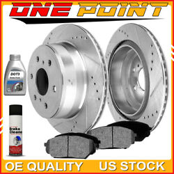 Rear Silver Drilled Slotted Rotors And Ceramic Pads 2007-13 Chevy Avalanche Tahoe