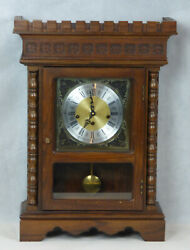 Herschede Tall Wall Clock Wood Wooden Case Chimes Germany Vintage 1960's