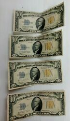 Lot Of 4 1934 A 10 Dollar Au Consecutive North African Yellow Seal Note's K067