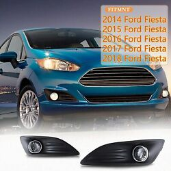 For 14-18 Ford Fiesta Fog Lights Assembly Lamp Replacement Wiring Kit Clear Pair