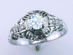Antique Diamond Engagement Ring Gia Certified .55ct 18k White Gold Art Deco