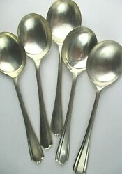 5 X Antique Silver Plated Soup Spoons Samuel Evans And Sons