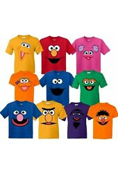 Inspired Sesame Street Face Characters Birthday Matching Family Cute T-shirt
