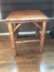 Side End Foyer Table Wood Farmhouse Log Stand Cabin