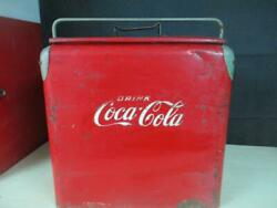 Vintage 1940and039s Coca Cola Cooler By St. Thomas Metal Signs W/tray