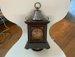 Antique German Junghans Mantel Clock With Alarm Function Wood Case - Working
