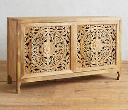 Wooden Hand Carved Natural Wood Sideboard