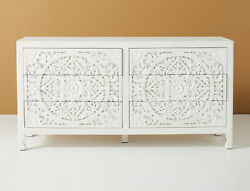 Wooden Hand Carved Traditionally Designed White Sideboard And Buffet