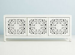 Wooden Hand Carved White Traditional Cum Modern Sideboard And Buffet
