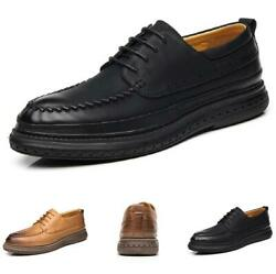 Mens Low Top Leisure Faux Leather Shoes Work Office Round Toe Oxfords Non-slip L
