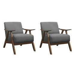 Lexicon Damala Collection Retro Inspired Wood Frame Accent Chair Grey 2 Pack