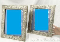Set Of 2 J.espinosa Ecuador 925 Sterling Silver Story Aztec 2pc Picture Frames