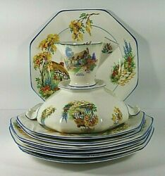 James Kent Pottery Set 9 Country Cottage Scenery With Blue Rim Made In England
