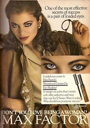 1979 Max Factor Cosmetics Makeup Lisa Vale Sexy Brunette Vintage Print Ad 1970s