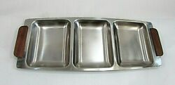 1960s Japan Zelco Metal 3 Section Divided 6x14 Serving Tray Wood Handles Free Sh