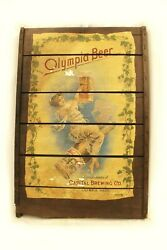 Vintage Olympia Beer Ad On Wood Pabst Blue Ribbon Bar Art Nouveau Woman 24x36