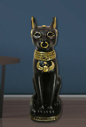 Large Black And Gold Egyptian Goddess Cat Bastet With Scarab Amulet Statue 37h