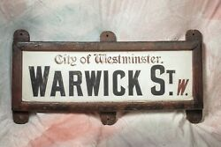 """Antique London Street Sign - Porcelain Over 1"""" Marble - From City Of Westminster"""