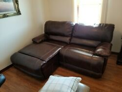 Brown Genuine Leather Sofa Daybed Recliner Smoke Pet Free Excellent Condition