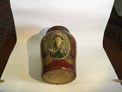 Vintage English Hand Painted Ironstone Tobacco Jar With Metal Lid 1920's
