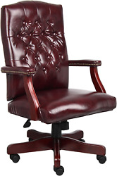 Boss Office Products Classic Executive Caressoft Chair With Mahogany Finish In B