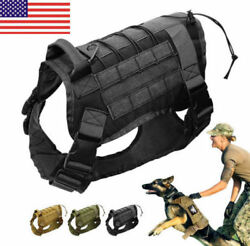 Tactical M K9 Training Dog Harness Military Adjustable Molle Nylon Vest M Size