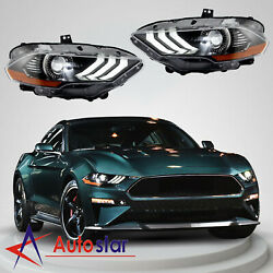 Pair Drl Dual Beam Projector Headlights Headlamp Fits For 2018 2019 Ford Mustang