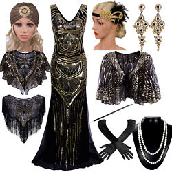 Vintage 1920s Beaded Flapper Gatsby Wedding Prom Long Evening Party Formal Dress $45.89