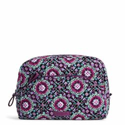 New With Tag Vera Bradley Large Cosmetic Bag In Signature Cotton Lilac Medallion $24.99