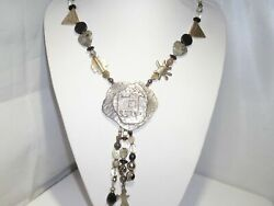 Unusual Petroglyphs Necklace All Kinds Beads Sterling Silver Native American