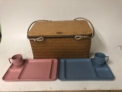 Vintage Kent Feeds Wicker And Wood Picnic Basket Good Cond For Age Great Decor