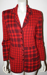Escada Red Plaid Sweater Jacket 38 M 8 10 Woven Knit Ls Wool Mohair
