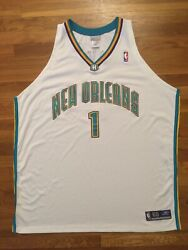 Authentic Reebok New Orleans Hornets Baron Davis-white/teal/gold/ Home Jersey 60