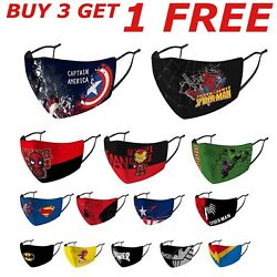 Adjustable KIDS Face Mask Reusable Washable Superman Marvel Spiderman Face Cover $6.99