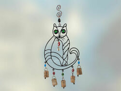 Cute Cat Wind Chime With Glass Eyes, Rustic Bells, Colorful Beads Iron Windchime