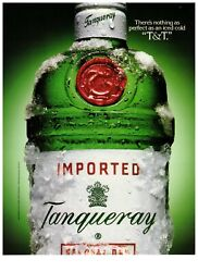 1992 Tanqueray Gin Green Bottle Tandt Vintage Print Advertisement