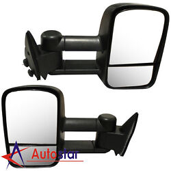 Towing Manual Side View Mirrors Pair For 88-98 Chevy Gmc Truck C/k Tahoe Yukon