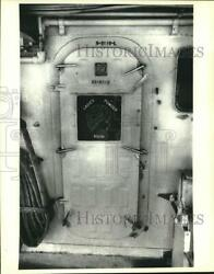 1979 Press Photo Door With A Sign Stating Ladies Powder Room On The Uss Vulcan