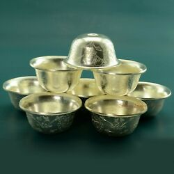 Finely Carved Tibetan Buddhist 3.5 Silver Plated Offering Bowls Set Patan Nepal