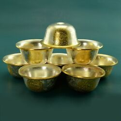 Finely Carved Gold And Silver Plated Tibetan 3.5 Offering Bowls Set Patan, Nepal