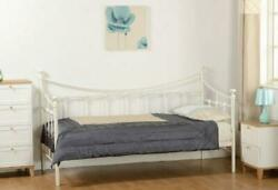 Torino 3ft Single Cream Metal Day Bed And Underbed Trundle Guest Bed Frame Bedroom
