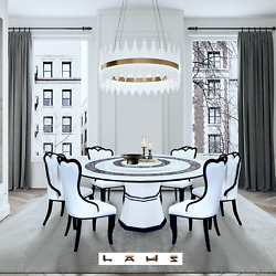 New White 1.5mandoslash Marble Dining Table W/ Lazy Susan And 4 Wt Chairs Modern Furniture