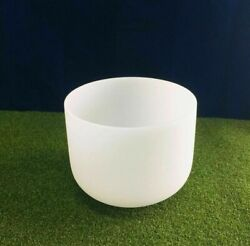 F Note Chakra Frosted Quartz Crystal Singing Bowl 8 Inch Mallet Andoring Included