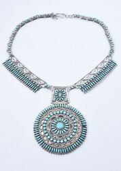Vintage Victor Moses Begay Navajo Native Silver Turquoise Cluster Necklace Vmb